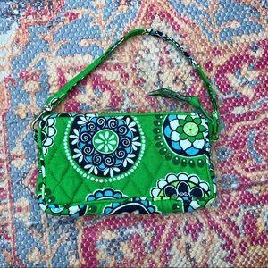 Vera Bradley green printed cotton wristlet